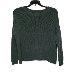AERIE green knit cropped pullover sweater small